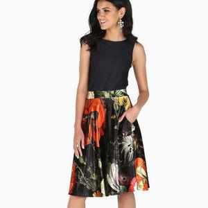 NWT! LE Blackmilk Deadly Flora Velvet Midi Skirt